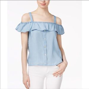 Maison Jules Chambray Off The Shoulder Blouse